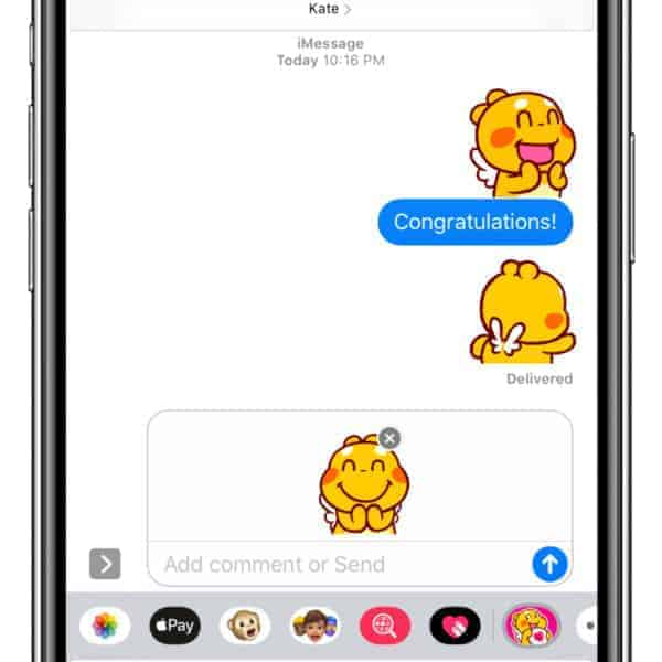 "QooBee iMessage Stickers ""Happy"""