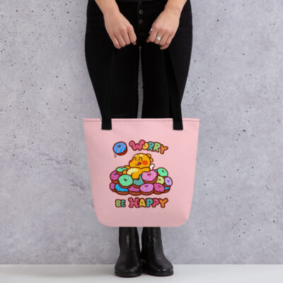QooBee Donut Worry Be Happy Tote bag