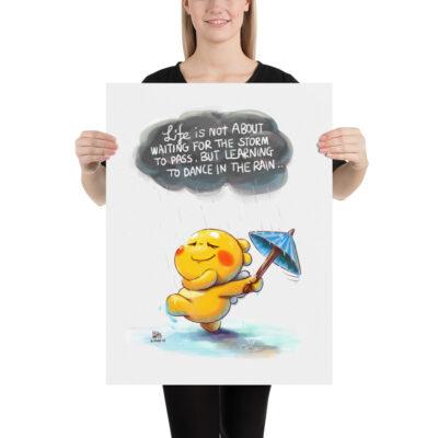 QooBee Water Color Poster – Dancing in the Rain
